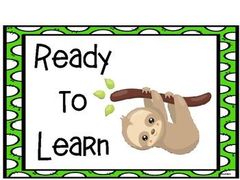Sloth Behavior Clip Chart