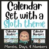 Sloth Calendar Duo:  Headers and Numbers