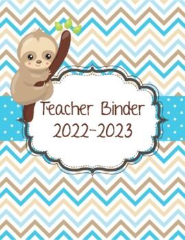 Sloth Chevron and Polka Dot Teacher Binder 2018-2019