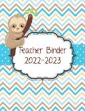 Sloth Chevron and Polka Dot Teacher Binder 2019-2020