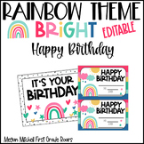 Rainbow Classroom Decor Happy Birthday Bulletin Board & More