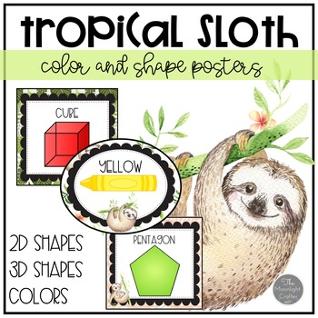 Sloth Classroom Shape and Color Posters