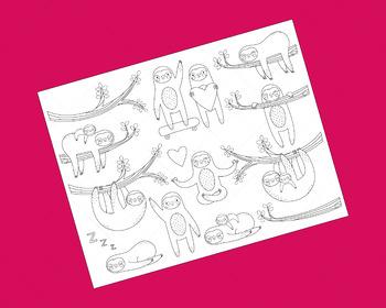 Sloth Clip Art, Coloring Activity