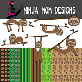 Sloth Clip Art and Digital Paper in Color and Black Line