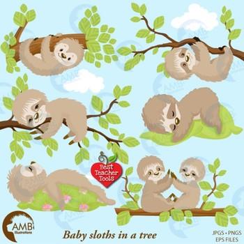 Sloth Clipart, Animal Clipart,  Baby Sloths {Best Teacher Tools} AMB-2200