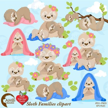 Sloth Clipart, Animal Clipart, Sleepy Baby Sloths {Best Teacher Tools} AMB-2201