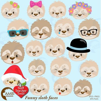 Sloth Clipart, Animal Faces, Sloths Clipart {Best Teacher Tools} AMB-2203