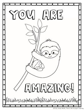 Sloth Coloring Pages (with Motivational Quotes) | TpT