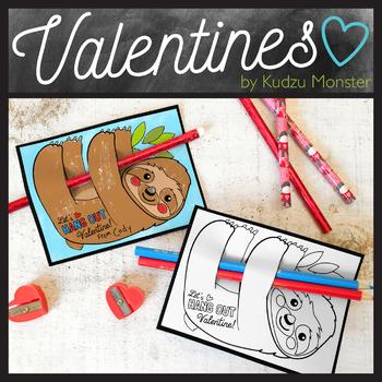 Sloth Coloring Valentine Pencil Hugger