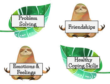 Sloth Theme: Counseling Bulletin Board Set - Available in Spanish!