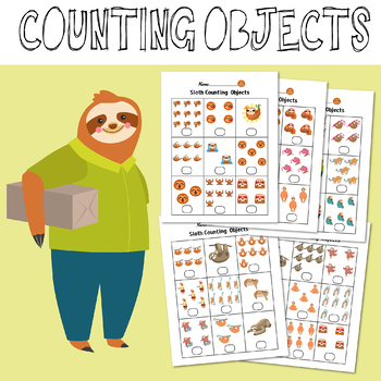 Sloth Counting Objects 1-10 Worksheets Math Counting Objects to 10