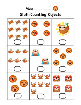 Sloth Counting Objects 1-10 Worksheets Math Counting ...
