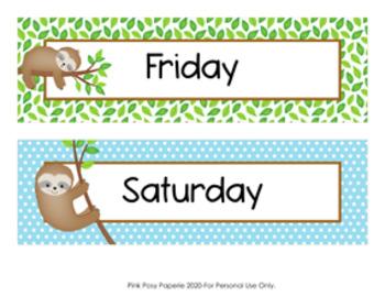 Sloth Days of the Week Calendar Headers