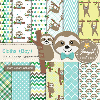 Sloth Boy Digital Papers and Clipart SET