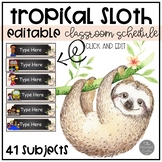 Sloth EDITABLE Classroom Schedule Cards
