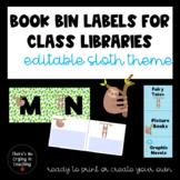 Sloth Editable Book Bin Labels