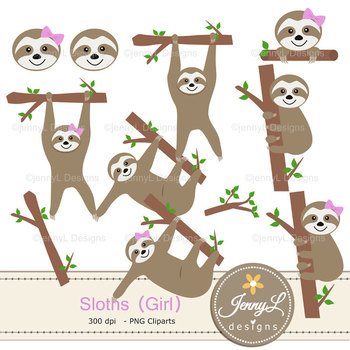 Sloth Girl Digital Papers and Clipart SET