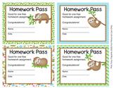 Sloth Homework Passes