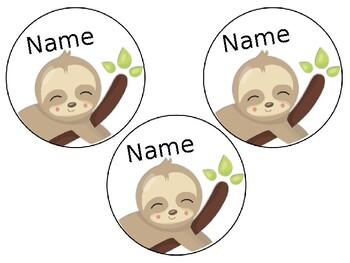 Sloth Locker Tags Freebie (Editable)