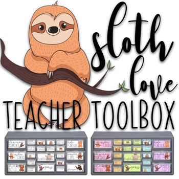 Sloth Love Teacher Toolbox Labels