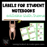 Editable Sloth Notebook Labels for Students