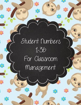 Sloth Numbers 1-36 for Student Organization