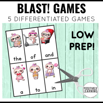 Sloth Phonics and Sight Word Blast Game