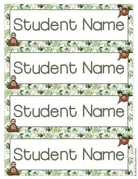 Sloth Student Name Tags Freebie