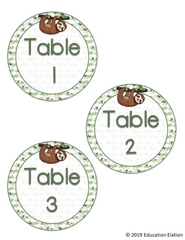 Sloth Table Numbers