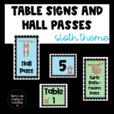 Sloth Table Numbers and Classroom Passes