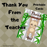 Sloth Thank You Cards - Note Cards - Thank You From the Teacher
