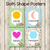 Sloth Theme 2D Shape Posters