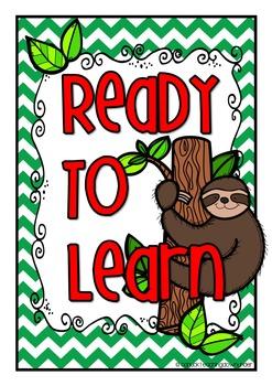 Sloth Theme Classroom Behavior Clip Up Chart