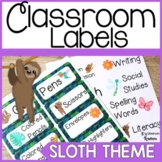 Sloth Themed Classroom Labels