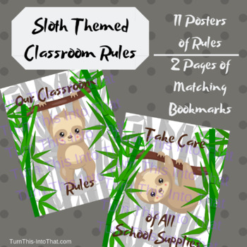 Sloth Themed Classroom Rules Posters - Bamboo Jungle Classroom Decor