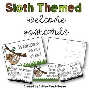 Sloth Themed Welcome Postcards