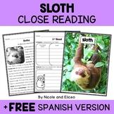 Close Reading Passage - Sloth Activities