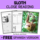 Sloth Close Reading Passage Activities