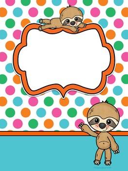 Sloths Binder Covers - Portadas Editables Perezosos