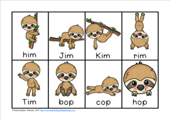Sloths CVC Word Race