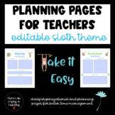 Sloth Daily Planner/Organizer (Editable)