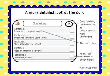 Slow Writing Task Cards