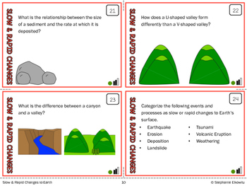 Slow and Rapid Changes to Earth Task Cards (Differentiated and Tiered)