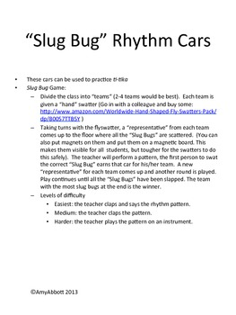Slug Bug Game: Rhythm, syncopa practice