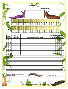 Slugs Themed Piano Lesson Assignment Sheet