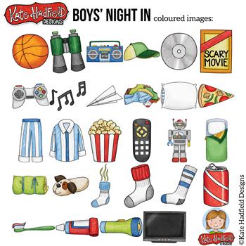 "Slumber Party Clip Art: ""Boys' Night In"""