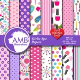 Slumber Party Digital Papers, Girls Spa Day, Scrapbook Papers, AMB-1244