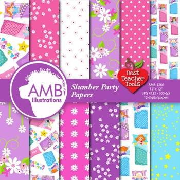 Slumber Party Digital Papers, Scrapbook Papers, Sleepover AMB-1266