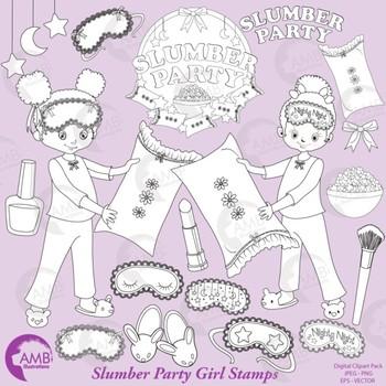 Slumber Party Digital Stamps, Sleep Over, Pyjama Party, AMB-2272