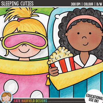 Slumber Party Kids Clip Art Bundle